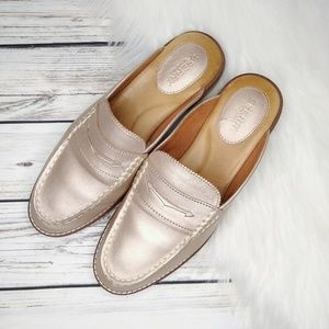 SPERRY TOP SIDER METALLIC LEATHER MULES 8.5